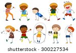boys and girls in different... | Shutterstock .eps vector #300227534
