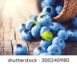 Blueberry On Wooden Table...
