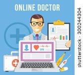 online doctor flat illustration ... | Shutterstock .eps vector #300244304