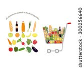 shopping trolley full  trolley... | Shutterstock .eps vector #300256640