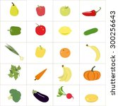 set of colorful  fruits and... | Shutterstock .eps vector #300256643