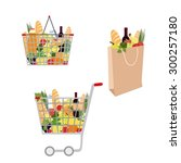set of grocery bag  grocery... | Shutterstock .eps vector #300257180