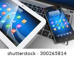 mobile devices. tablet pc ... | Shutterstock . vector #300265814