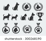 Stock vector cat and dog competition and awards vector icon set 300268190