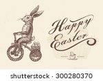 Easter Bunny Riding Bike With...