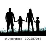 silhouette father  mother and...   Shutterstock . vector #300287069
