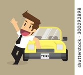 business man with a car. vector | Shutterstock .eps vector #300292898