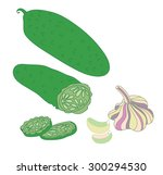 color image cucumber and garlic | Shutterstock .eps vector #300294530