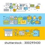 set of thin line flat design... | Shutterstock .eps vector #300295430