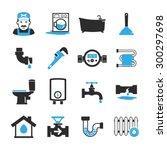 vector plumbing icons set | Shutterstock .eps vector #300297698