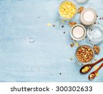 yogurt with muesli and... | Shutterstock . vector #300302633