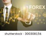 businessman pressing button on...   Shutterstock . vector #300308156