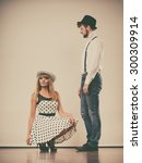 young retro couple in love... | Shutterstock . vector #300309914