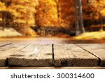 Stock photo golden leaves of autumn lake and wooden pier 300314600
