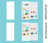 refrigerator opened with food. | Shutterstock .eps vector #300322910