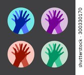 set of icons with two hands... | Shutterstock .eps vector #300330170