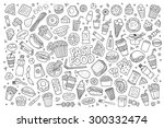 fast food doodles hand drawn... | Shutterstock .eps vector #300332474