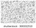 cinema  movie  film doodles... | Shutterstock .eps vector #300332510