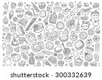 foods doodles hand drawn... | Shutterstock .eps vector #300332639