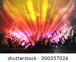 party crowd with disco spot... | Shutterstock .eps vector #300357026