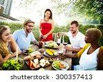 diverse people luncheon food... | Shutterstock . vector #300357413