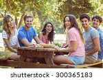 happy friends in the park... | Shutterstock . vector #300365183