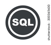 text sql in circle  on black...