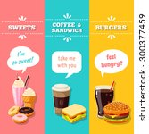 set of 3 vertical fastfood... | Shutterstock .eps vector #300377459