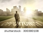 young businessman walking on... | Shutterstock . vector #300380108