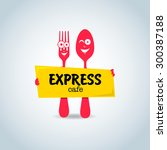 fast food  express cafe logo... | Shutterstock .eps vector #300387188