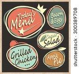 retro restaurant menu template. ... | Shutterstock .eps vector #300389708