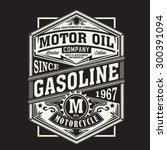 Motor gasoline typography, t-shirt graphics, vectors | Shutterstock vector #300391094
