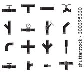 pipe and valve icon set | Shutterstock .eps vector #300395330