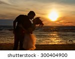 silhouettes of men and women in ... | Shutterstock . vector #300404900