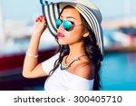 close up fashion portrait of... | Shutterstock . vector #300405710