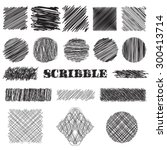 vector set of scribble brushes. ... | Shutterstock .eps vector #300413714