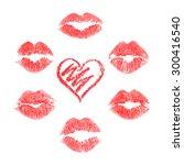 vector set of lips prints on... | Shutterstock .eps vector #300416540