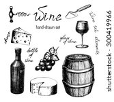 vector hand drawn vintage wine...   Shutterstock .eps vector #300419966