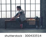 a quiet moment to tie her shoes.... | Shutterstock . vector #300433514