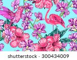 tropical flowers  pink... | Shutterstock .eps vector #300434009