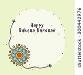 beautiful rakhi and stars... | Shutterstock .eps vector #300442976