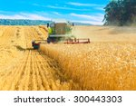 Combine Harvester Working On A...
