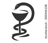 bowl of hygieia  serpent....   Shutterstock .eps vector #300446108