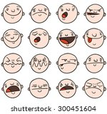 set of cartoon bald faces with... | Shutterstock .eps vector #300451604