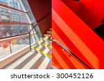 staircase painted in red.... | Shutterstock . vector #300452126