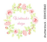 floral wreath hand drawn... | Shutterstock . vector #300453860