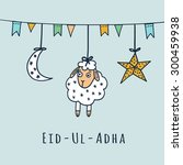 eid ul adha greeting card with... | Shutterstock .eps vector #300459938