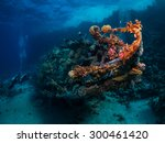 shipwreck among coral reefs.... | Shutterstock . vector #300461420