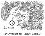 Hand Drawing  Bird And Doodle...