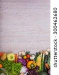 vegetables on wood background... | Shutterstock . vector #300462680